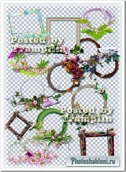 Рамки-вырезы разной тематики для виньеток - Клипарт на прозрачном фоне