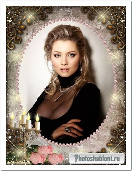 Стильная рамка для фото с розами - Огонь и блеск золотых свечей