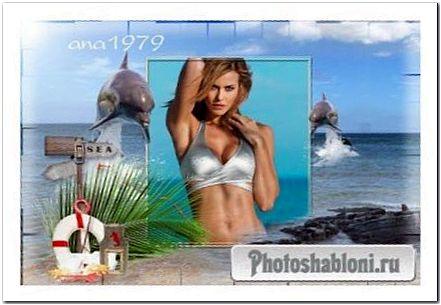 Рамка для фотошопа - Море и дельфины