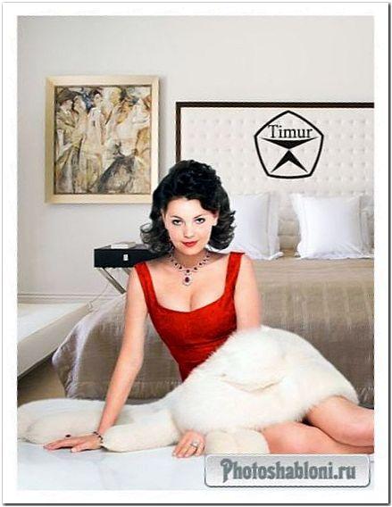 Женский шаблон для фотомонтажа - Девушка в красивом красном платье