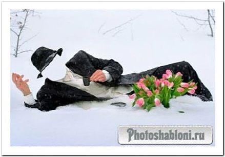 Шаблон для Photoshop - Донжуан с кофе и цветами на снегу