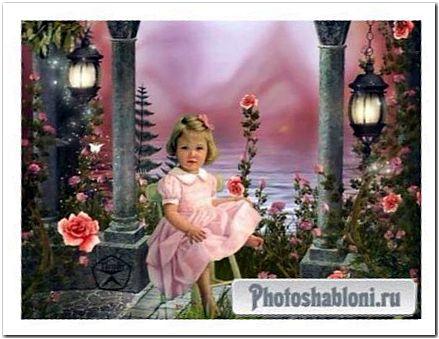 Детский шаблон для фотошопа - В саду красивых роз