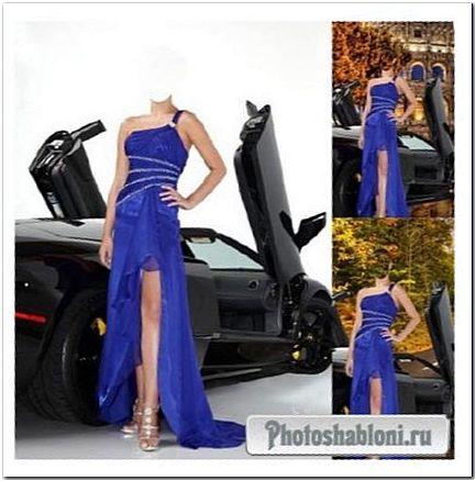 Шаблон женский - В красивом платье у черного Ferrari