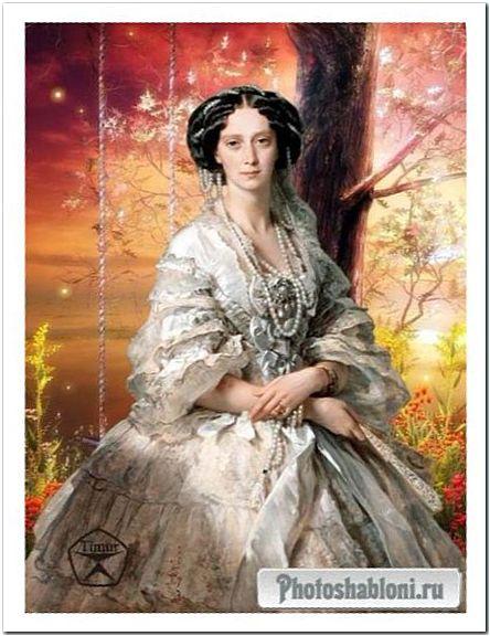 Женский шаблон для фотошопа - Императрица, портрет кисти художника