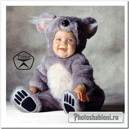 Детский шаблон для фотомонтажа - Малыш в костюме мышонка