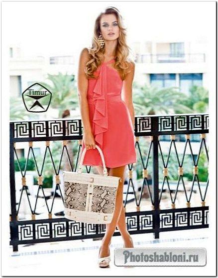 Женский шаблон для фотошопа - В летнем платье