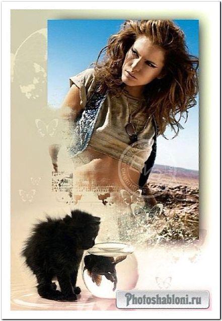 Рамочка для фотошоп - Черный котенок