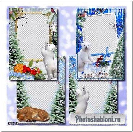 Зимние рамки для фотошопа - С лесными зверюшками