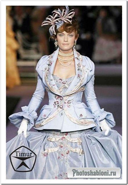 Женский шаблон для фотошопа - Шикарное платье Леди