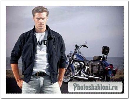 Мужской шаблон для фотомонтажа - Парень с мотоциклом, байкер