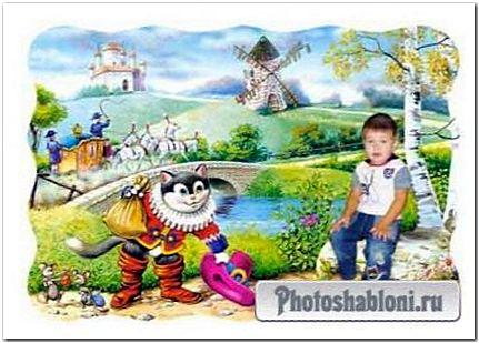 Детский фотошаблон Кот в сапогах