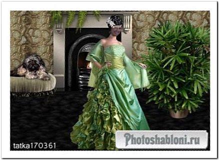 Женский шаблон для фотошопа - Девушка в зелёном платье у камина
