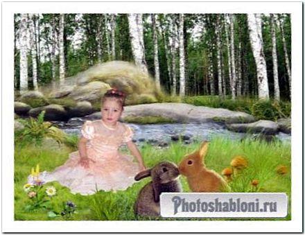 Фотошаблон На полянке у реки
