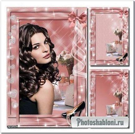 Гламурная рамка для фото - Жемчуг, туфелька, лента
