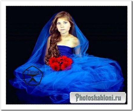 Детский шаблон для фотомонтажа - Девочка с красными герберами в пышном синем платье