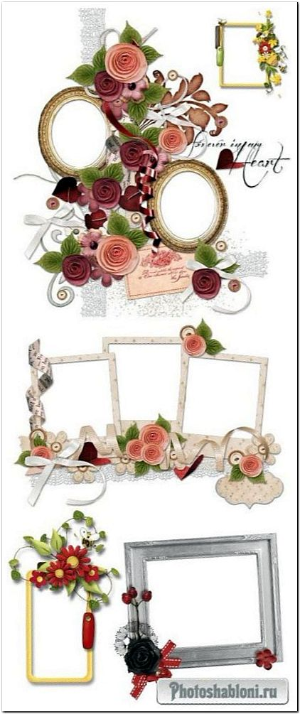 Романтические кластеры PNG с цветами и сердечками для оформления фотографий и альбомов