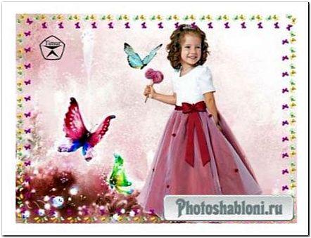 Детский шаблон для фотошопа - Волшебные бабочки