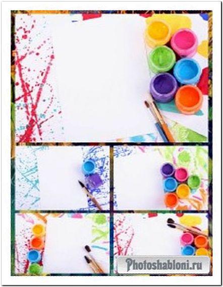 Краски и лист бумаги (набор фонов)