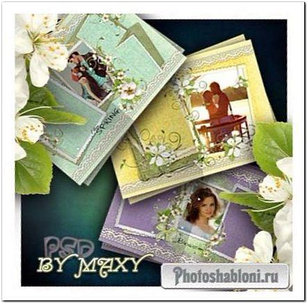 Пастельный весенний фотоальбом - Цветущая вишня и белое кружево