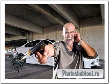 Мужской шаблон для фотомонтажа - Эффект летящей пули и разбитого стекла