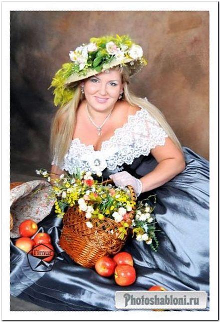 Женский шаблон для фотомонтажа - Женщина в шляпе и корзиной цветов, пышнотелая блондинка