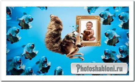 Рамка для фотошопа - Задорная белка спасает вашу фотографию