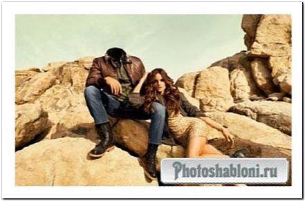 Шаблон для фотомонтажа - Вы со стройной девушкой среди камней
