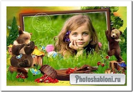 Детская рамочка для фото - Мишки сладкоежки