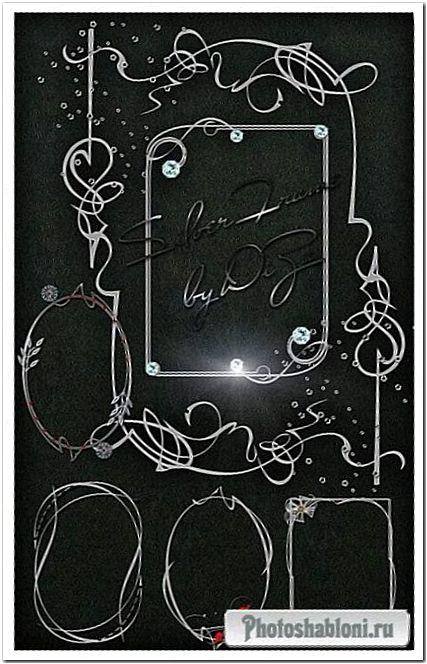 Серебряные выезы для рамок PNG Silver frames