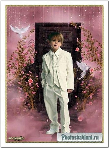 Детский psd шаблон - Мальчик в белом костюме и голуби