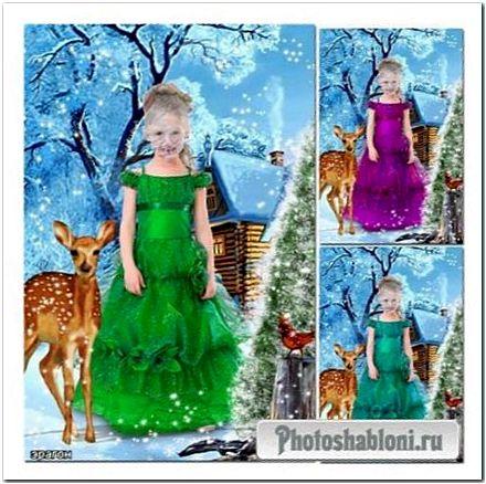 Зимний шаблон девочкам для фотомонтажа - С олененком