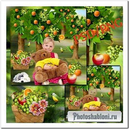 Детский шаблон для фотомонтажа - Девочка в саду с плюшевым мишкой