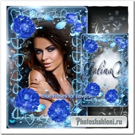 Гламурная рамка ко Дню Св. Валентина - Синие розы для влюблённых