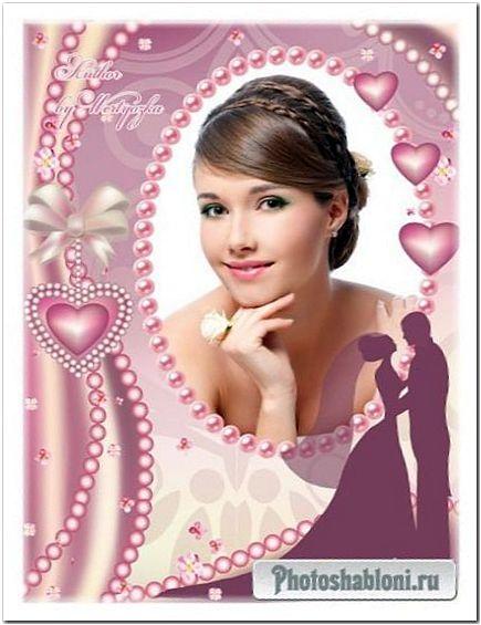 Свадебная рамка для фото - Декор из розового жемчуга
