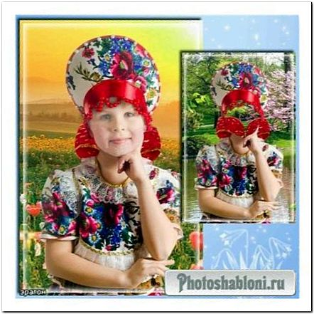 Детский шаблон для фотошопа девочкам - Маковое поле