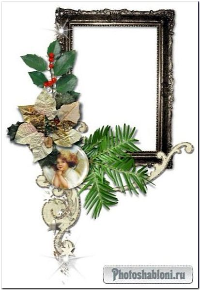 Рождественские и новогодние композиции с рамками-вырезами