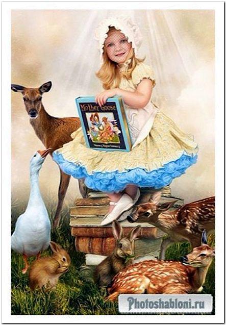 Детский шаблон для фотомонтажа - Любимые сказки