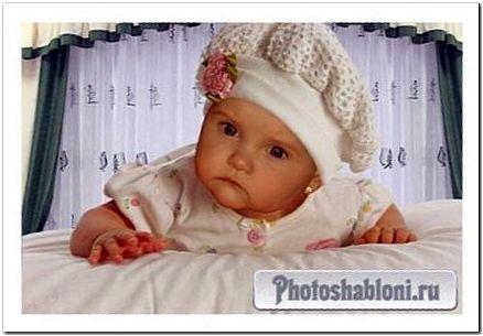 Шаблон для фотошопа - Девочка на кровати