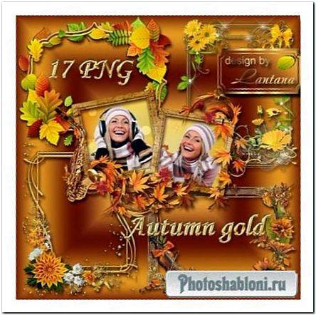 Скрипка, кленовые листья и осенние цветы - золотые рамки-вырезы для фото
