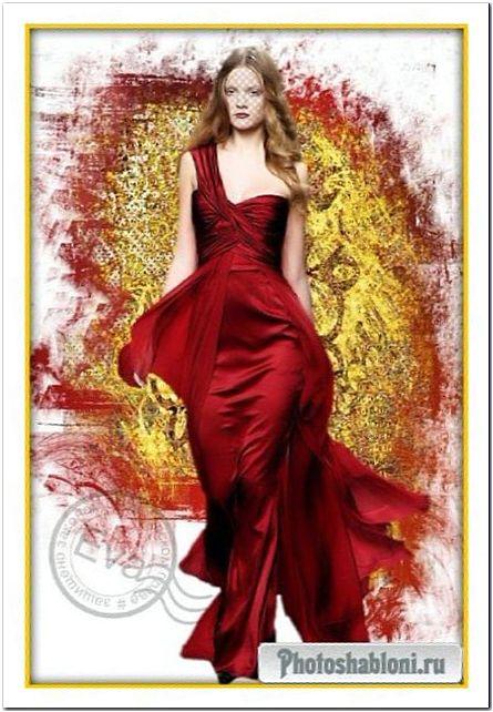 Женский шаблон для фотомонтажа - Красное золото