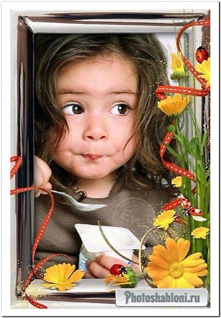 Детская рамка для фото - Цветы календулы