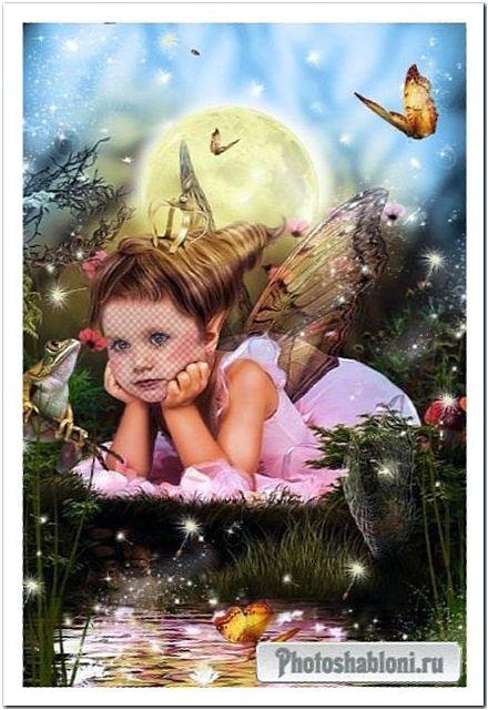 Детский шаблон для фотошопа - Лесная феечка
