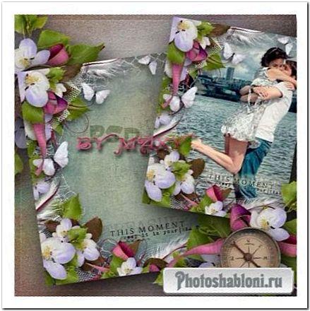 Романтическая рамка с лентами - Яблоневый цвет