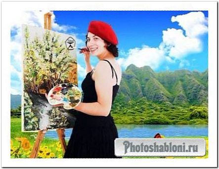 Женский шаблон для фотомонтажа - Творческий процесс художника