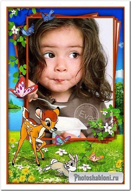 Детская рамка для фото - Бемби и бабочки