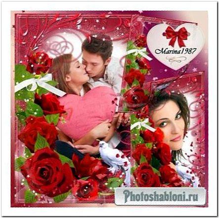 Рамка для фото влюбленных - Пышные красные розы