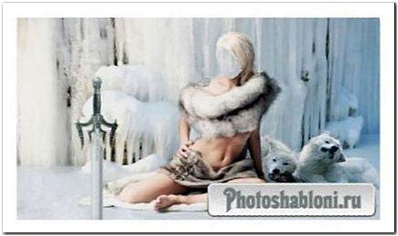 Шаблон для девушек - Красивая девушка окутана мехами с белыми волками