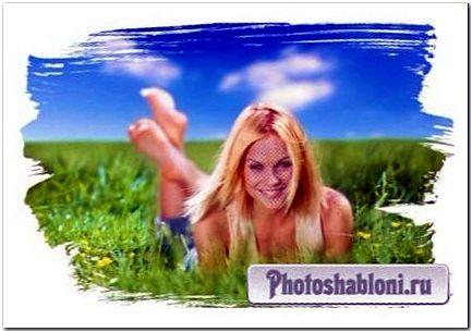 Женский шаблон для фотомонтажа - На летнем лугу