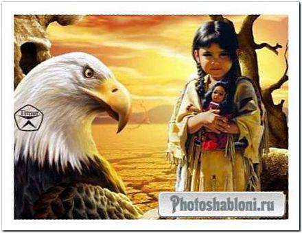 Детский шаблон для фотомонтажа - Дочь вождя индейского племни