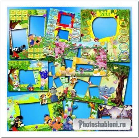 Коллекция фоторамок и календарей для детей в png формате
